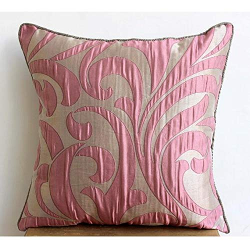 The HomeCentric Rosa Akzent Kissen, Blumendamast Kissen Decken, 50x50 cm Kissenbezug, Blumen Zeitgenössisch Zierkissen Abdecken, Platz Jacquard Kissenbezug - Pink Galore -