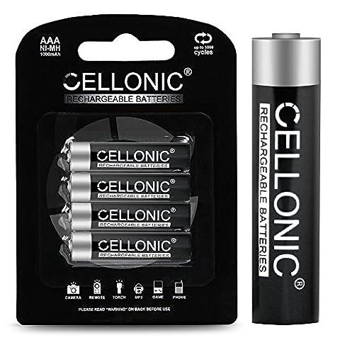 Cellonic® Piles rechargeables AAA - 1000mAh - préchargées, durables, longue durée de vie - 4x Accus rechargeable AAA (Micro / HR03 / AAA) batteries