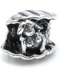 Queenberry de plata de ley no muy buena ilustración de cuento de sirenita w/cuentas de concha marina para pulseras de seguridad europeo para pulsera Pandora Troll