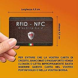 2 pezzi Protezione Anti RFID per Carte di Credito Contactless | Blocco RFID & NFC – RFID Blocking Bancomat Passaporto Documenti Identità | Sostituisce Le Custodie Di Blocco Per Porta Carte