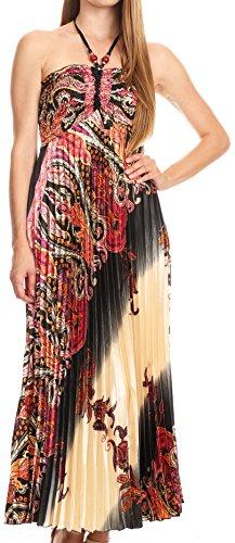 Sakkas CHH14160 - Vanna trägerlosen gefalteten Satin Sommer Mid Kleid einstellbar - schwarz - OS (Schwarze Satin-trägerlosen Kleid)