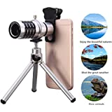 Kit Objectif Téléobjectif 12X Zoom+Trépied,Hizek Caméra Lens Universal Télescope Pince Optique pour Iphone 6s/6/6 Plus/6s Plus / 5s , Samsung Galaxy S6 / S6 edge/S5, Note 5 /4 ,and More (Silver)