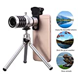 12X Optical Phone Camera Lens with Tripod, Hizek Manual Focus Telescope Zoom Kit with Cellphone Stand for iPhone SE/7/7 Plus/6S Plus/6S/6/5S/5C/5, Samsung Galaxy S5/S6/S6 Edge, Note4/5, LG, HTC, Moto, Nexus, Sony, Huawei and More(Silver)