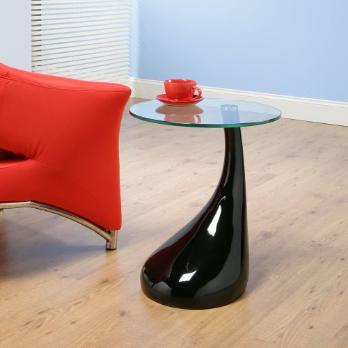 Side / End / Lamp Table in Gloss Black Round Glass Top, Modern cfx125