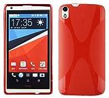 Cadorabo Hülle für HTC Desire 816 Hülle in Inferno Rot Handyhülle aus flexiblem TPU Silikon im X-Line Design Silikonhülle Schutzhülle Soft Back Cover Case Bumper Inferno-Rot