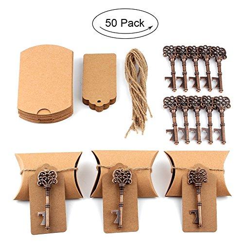 aytai 50Stück Hochzeit Favor Antik Schlüssel-Flaschenöffner + Tags + Kissen Candy Boxen, für Baby-Dusche Geschenke für Gäste Party Bankett Bar Supplies
