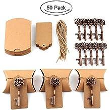 Aytai Juego deartículos para detalles de boda, 50 unidades, incluye abrebotellas con diseño de llave antigua, etiquetas y cajas de almohadilla