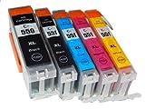 5 x vhbw Set Druckerpatronen, Tintenpatronen, Druckerpatrone, Tintenpatrone mit Chip für Canon Pixma IP7250, MG5450, MG6350 MX725, MX925 wie CLI-551.