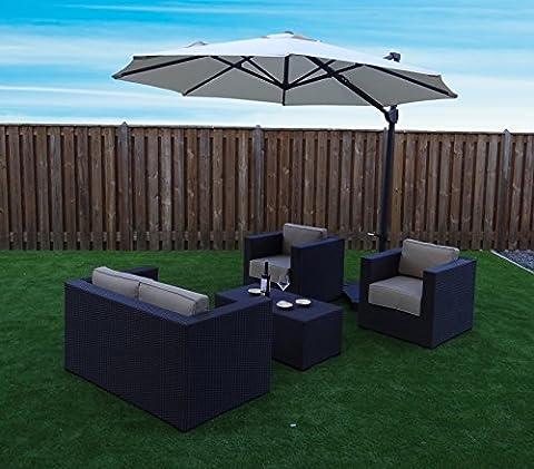Parasol Déporté Jardin | Sable | Ø 300 cm / 3m | Rond | SORARA | ROMA | Polyester 250 g/m² (UV 50+)| Commande à Manivelle & Dispositif Rotatif 360º | Incl. Housse & Pied en
