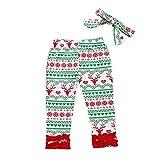 Yazidan 2 Stück Weihnachten Kleinkind Baby Neugeborenes Hirsch Drucken Lange Hosen+Stirnbänder Einstellen Outfit Mädchen Kleidung Sätze Säugling Kostüm Outfits Winter Warm Nachtwäsche(Grün,80)