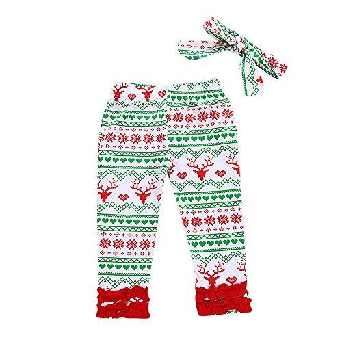 Quaan 2 Stück Weihnachten Kleinkind Baby Neugeborenes Hirsch Drucken Lange Hose Stirnbänder Einstellen Outfit Kürbis Halloween warm weich gemütlich Mantel Outwear Weste Mantel Sweatshirt