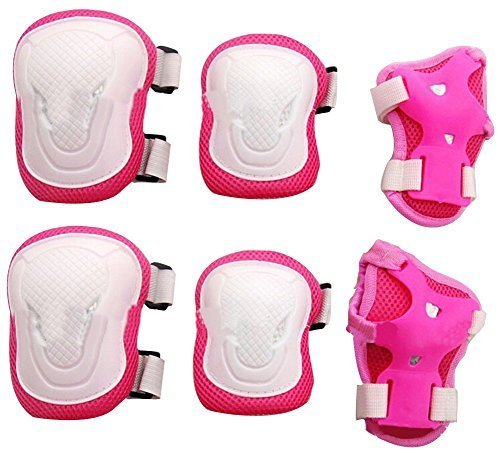 Adult Women/men Unisex Knee Elbow Wrist Protective Pads Set for Skateboard Cycling Roller Skating and Other Outdoor Sports Safety Protective Gear Pads Set Color Pink+white Test