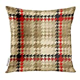 Throw Pillow Cover Beige Abstract Geometric Pattern Plaid of Classic Hounds Tooth Checked Decorative Pillow Case Home Decor Square 18x18 inches Pillowcase