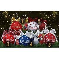 Crociedelizie, set da 4 palline di Natale con nome ricamato decorazione natalizia personalizzabile scegli tu i modelli