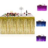 Metallic Fringe Foil Table Rock Tinsel Tabelle Vorhang für Luau Party-Geburtstags-Sommer-Jahrestag Weihnachten Tischdekoration Sunlera - 9