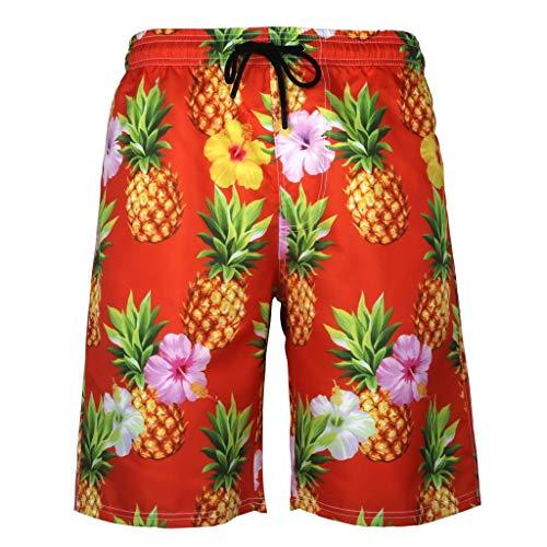 Gusspower_ Herren Badeshorts Badehose in Vielen Farben | 3D Ananas Drucken | Bermuda Shorts | Schwimmhose | Badehose für Männer X01