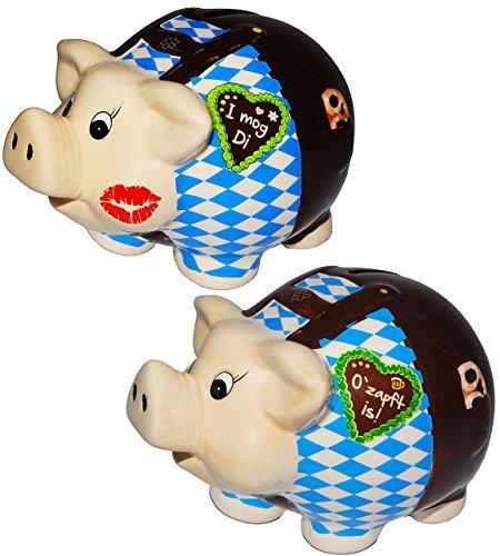 """Preisvergleich Produktbild 1 Stück _ großes Sparschwein - """" Oktoberfest """" - stabile Sparbüchse aus Porzellan / Keramik - Spardose - für Kinder & Erwachsene / lustig witzig - Geldgeschenk / Urlaubsreise / Urlaubskasse - Reisekasse Urlaub Reisen - verliebt / Bayern - Trachten - Stammtisch - Vereinskasse - Seppl - Wiesn Wasen - Feiern & Feste - Achterbahn / Bretzel"""