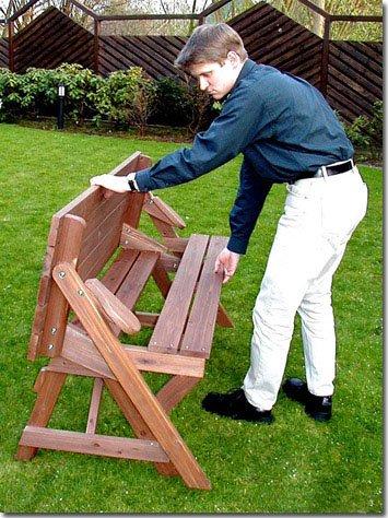 Holzbank Tisch Sitzgarnitur clevere Sache die Kombibank – Gartenbank - 2