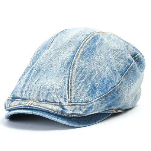 ililily Baseballkappe: Flat Cap mit Denimstoff, auch bekannt als Gatsby Cap oder Ivy Cap, traditioneller irischer Stil (Chaffeurmütze), Schirmmütze, Verwendung als Jagdhut oder Baskenmütze ebenfalls möglich