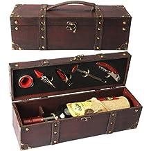 Yyobansa, scatola per bottiglie di vino, scatola di legno intagliato con scacchi in legno per vino Smooth Style