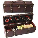 Yobansa Antike Holzkiste Aufbewahrungsbox mit Griff, Weinflaschenbox, Weingeschenkbox aus Holz, Weinverschluss, Weinausgießer, Weinöffner (5set) - 5