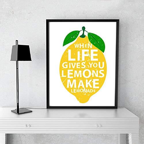 Wenn das Leben gibt Ihnen Zitronen machen Limonaden Küche Dekor Leinwand Malerei Drucke Poster Wandkunst Bilder Home Dekorative 60x80 cm Kein Rahmen