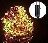 ALED LIGHT 20M 200 LEDs LED Lichterkette Weihnachten Kupferdraht, Wasserdicht Außen Lichterketten, Weihnachtsbaum Lichterkette Lampenkette für Haus Hochzeit Party Weihnachtsbeleuchtung (Warmweiß)