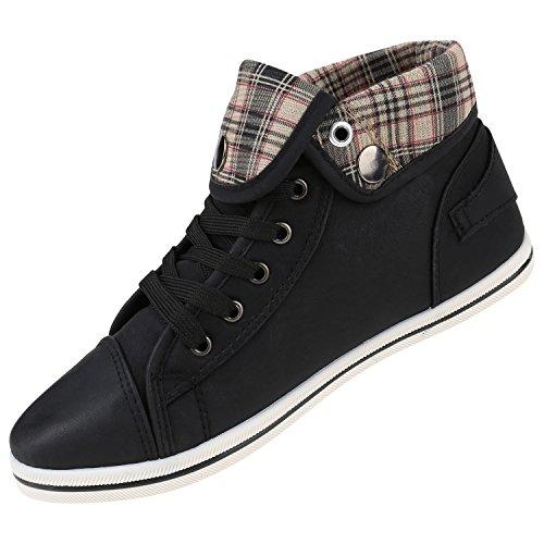Sneakers High Damen Animal Ketten Karo Zipper Schwarz Print RAwaZUw