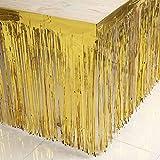 Metallic Fringe Foil Table Rock Tinsel Tabelle Vorhang für Luau Party-Geburtstags-Sommer-Jahrestag Weihnachten Tischdekoration Sunlera - 8