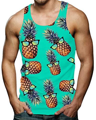 Spreadhoodie Ananas 3D Gedruckt Lustige Tank Tops Weste Bodybuilding Mens Coole Lässige Ärmelloses Pineapple Muster Muskelshirts Lose Tank Top Grün XXL - Top Lustig Tank Männer