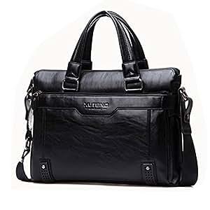 Noir-Sacoche en cuir pour ordinateur portable Business Sac à bandoulière Sac bandoulière