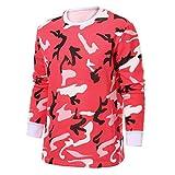 Xmiral Herren Pullover Tops Herbst Winter Camouflage Print Langarm O Hals T-Shirt(L,Rot)