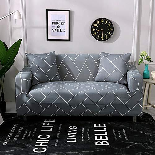 BAIF Blätter Streifen Drucken Floral Sofa Cover Enge Wrap All-Inclusive-Möbel Beschützer Sofa Handtuch 1/2/3/4-Sitzer (90-300cm), Farbe 16,3 Sitzer 190-230cm
