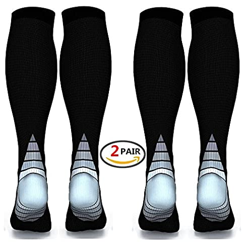 Compression Socks for Men & Women,(2 pair)Better Blood Circulation, Prevent Blood Clots, Speed Up Recovery BEST Graduated Athletic Fit for Running, Nurses,Medical Use,Shin Splints, Flight Travel, & Maternity Pregnancy. Boost Stamina,Circulation, Reduced Fatigue (Black & Grey L/XL (Women 5.5-13 / Men 7-13.5) 2 PAIR)