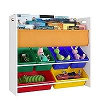 Homfa Kids Bookshelf with Toy Storage 3 Tier Bookcase 6 Storage Boxes School Home Multicolour85.7x26.5x78cm