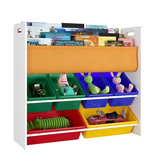 Homfa Kinderregal Bücherregal Spielzeugregal Aufbewahrungsregal Spielzeugkiste Regal mit Aufbewahrungsboxen 85.7x26.5x78cm