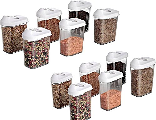 MR Cereal Dispenser Easy Flow Storage Jar 1100 ml 12 Pcs Set, Idle for Kitchen- Storage Box Storage Containers Plastic Lid Food Rice Pasta Pulses Container Set