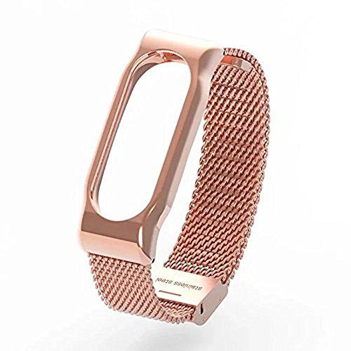 Xiaomi Mi Band 2 Polso Cinturino in metallo Pinhen pelle La cinghia di vita cinghia di metallo & Shell protettivo per Xiaomi Mi Banda 2 intelligente Miband Bracciale (Mesh Rose)