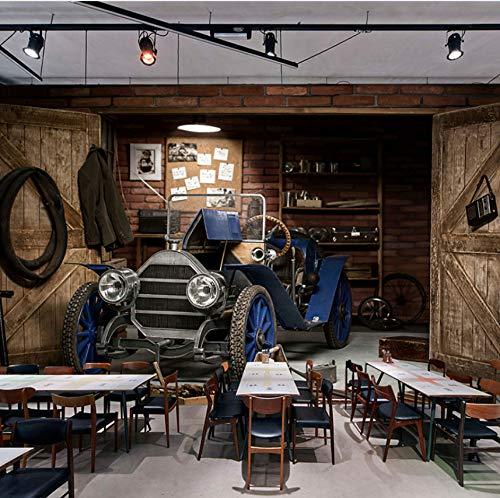 VVNASD 3D Wand Tapete Dekorationen Aufkleber Wandbilder Auto Retro Art Café Milch Tee Shop Hintergrund Dekor Kunst Kunst Mädchen Zimmer (W) 400X(H) 280Cm