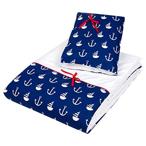 Dkaren 2 teiliges Bettwäsche-Set aus 100% Baumwollsatin für Ihren Kleinen (40x60cm/90x120cm, Anker) (Erde-mädchen T-shirt)