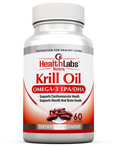 Health Labs Nutra Omega 3 Krill Oil 1000mg 30 jours d'alimentation plus forte Concentration d'oméga-3, 6 9 de DHA/EPA