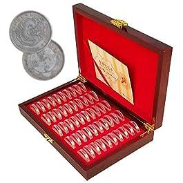 50 Pezzi Porta Monete, Scatola Rotonda Per Esposizione Di Monete In Legno, Custodia Portamonete Univ
