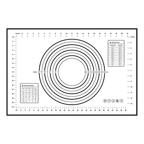 CHIZEA 60cm x 40cm Premium Silikon Backmatte, Backen Rollen Matte mit Messungen, Rutschfeste Wiederverwendbar Backpapier, Antihaft, BPA-Frei, FDA & LFGB Genehmigt