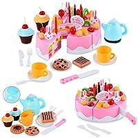 Itian 54 pcs Cute Divertimento Giocattolo Magico Tea Set e Rainbow Torta Finta Play Food Toy Set per Ragazze dei Capretti (Rosa)