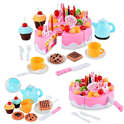 Itian 54 pcs Cute Divertimento Giocattolo Magico Tea Set e Rainbow Torta Finta Play Food Toy Set per Ragazze dei Capretti (Rosa)