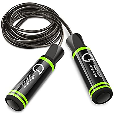 Gritin Skipping Rope, Speed Jump Rope Soft Memory Foam Handle Tangle-free Adjustable Rope & Rapid Ball Bearings Fitness Workouts Fat Burning Exercises Boxing - Spare Rope Length Adjuster Included. from Gritin