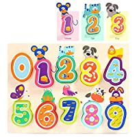 Jigsaws for 1, 2 Year Olds Learning Numbers Educational Toy - Wooden Puzzle for Toddler Boys Girls