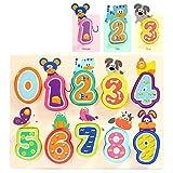 TOP BRIGHT Zahlenpuzzle Holzspielzeug Steckpuzzle mit 10 Stück Tolles Geschenk zum Geburtstag Weihnachten für Junge Mädchen Kleinkinder Lernspielzeug ab 2 Jahren