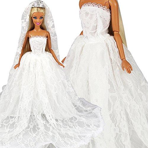Miunana Abendkleid Hochzeitskleider Braut Prinzessinnen Kleidung Kleider mit Brautschleier für...