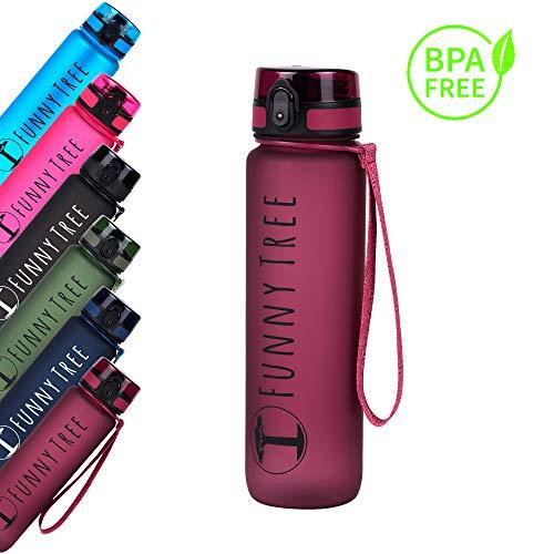 Funny Tree® Trinkflasche aus Tritan. 1000ml Very Berry. BPA frei und auslaufsicher! Ideal beim Yoga, beim Fitness und Wellness, oder auf All deinen Reisen sowie Outdoor Aktivitäten.